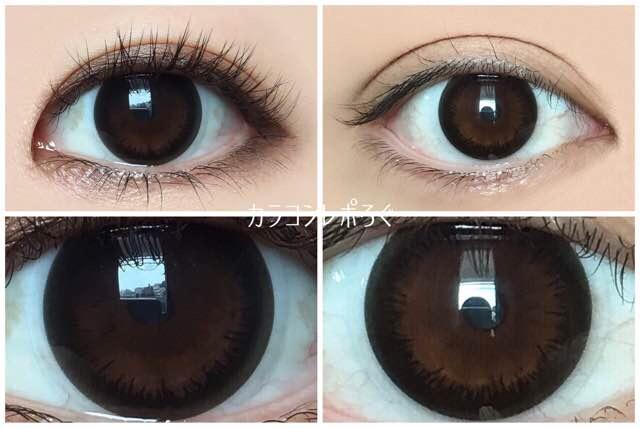 アクセントブラック(エンジェルアイズ)黒目と茶目発色の違い比較