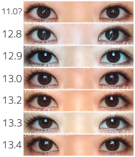 着色直径比較*ぼかしフチ両目ナチュラルサイズ