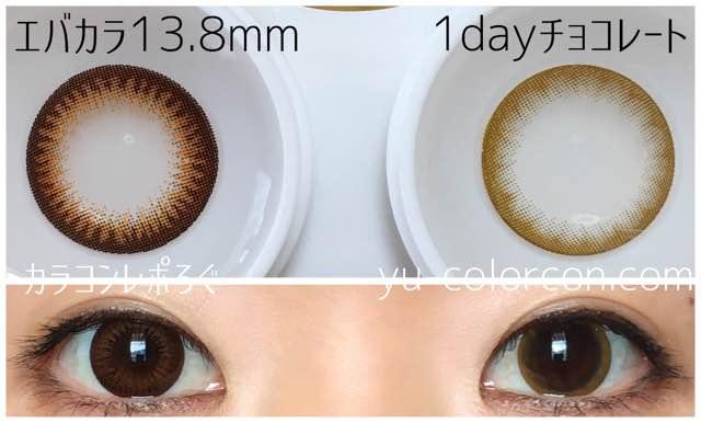 チョコレート/リルムーンワンデー大きさ/サイズ/着色直径検証