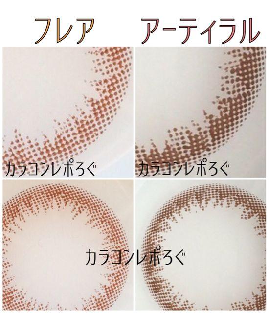 ワンデーピュアナチュラルフレアリュクス&アーティラルブラウン比較レポ・レンズ画像