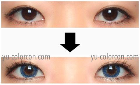 アイレンズ/i-lensクリスタルサファイアブルー装着画像レポ・両目ビフォーアフター
