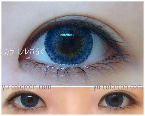 アイレンズ/i-lensクリスタルサファイアブルー装着画像レポ・蛍光灯すっぴん