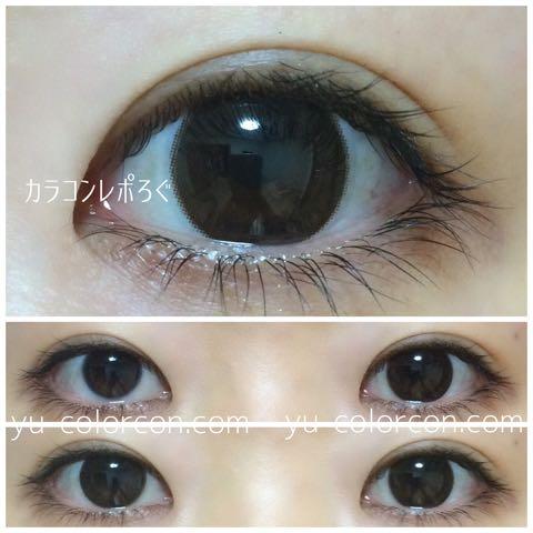 アイブリンチョコ/eyevelyn choco(シリコンハイドロゲル)装着画像レポ・蛍光灯すっぴん