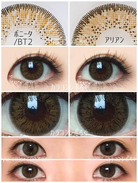ボニータ&アリアンサークルブラウン/発色の違い比較