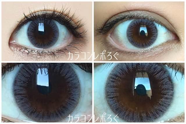 モネト(i-lens)モネグレー(POPLENS)黒目と茶目発色の違い比較