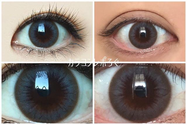 アングレーシリコン2ウィーク(i-lens/アイレンズ)黒目と茶目発色の違い比較