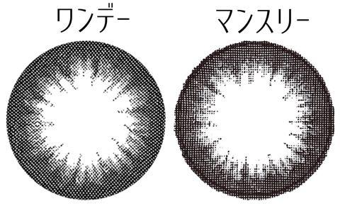 ロータスブラックワンデー&マンスリーレンズ画像比較