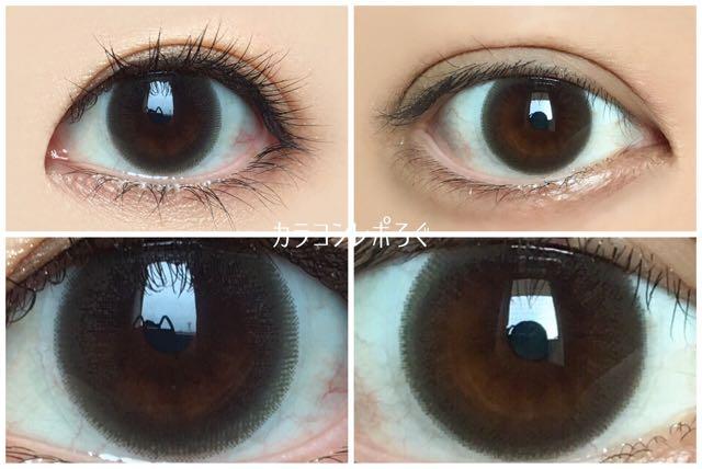 ヴィクトリア2ウィーク マロン 黒目と茶目発色の違い比較