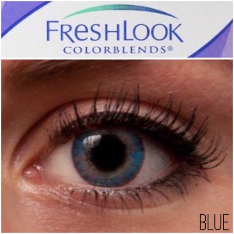 フレッシュルックカラーブレンズ(ブレンド)ブルー公式と実物比較