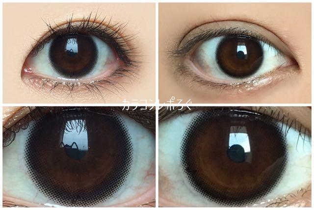 アレグロ2ウィーク ワルツブラック 黒目と茶目発色の違い比較