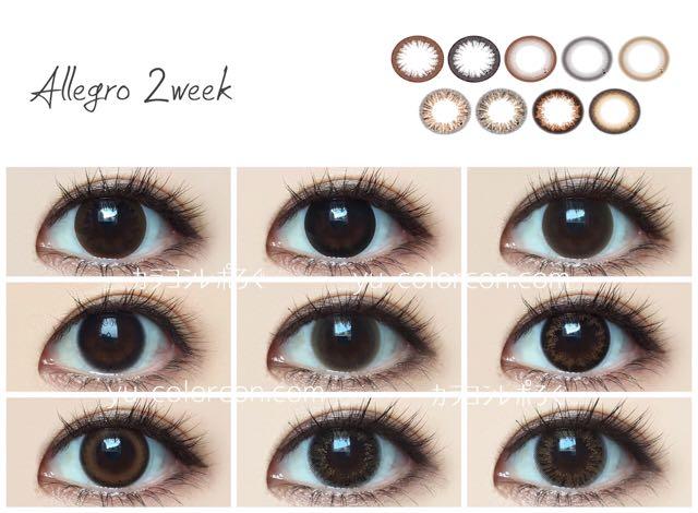 アレグロ2ウィーク/Allegro 2week(香川沙耶カラコン)黒目着画まとめ