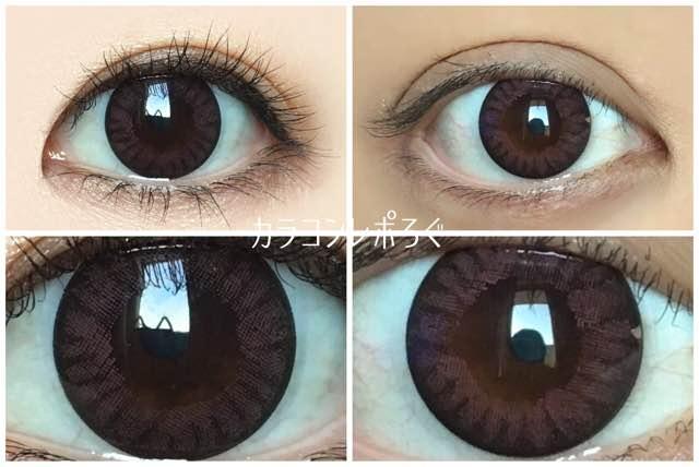 フェアリーワンデーフラワーピンク黒目と茶目発色の違い比較