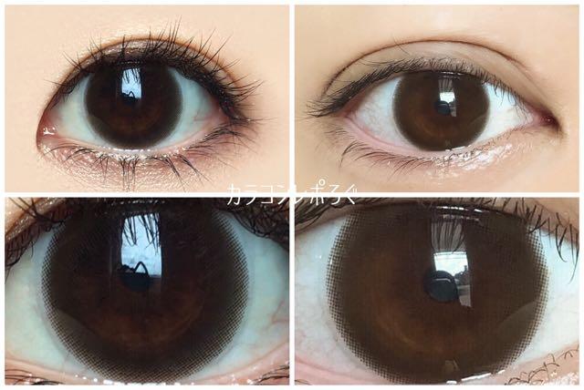 レヴィアワンデーサークル ブラウン 黒目と茶目発色の違い比較