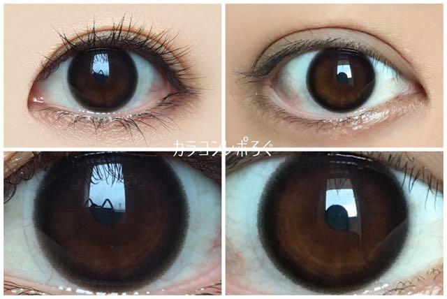 レヴィアワンマンス サークルブラック 黒目と茶目発色の違い比較