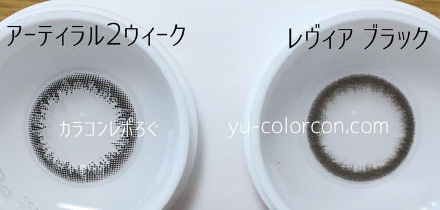 アーティラル2ウィークブラック&レヴィアワンマンスブラック レンズの違い比較