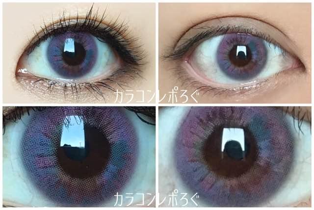 ダナレインボーピンク黒目茶目発色の違い