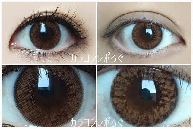 アイブリングランブラウン(i-lens/アイレンズ)黒目・茶目発色の違い