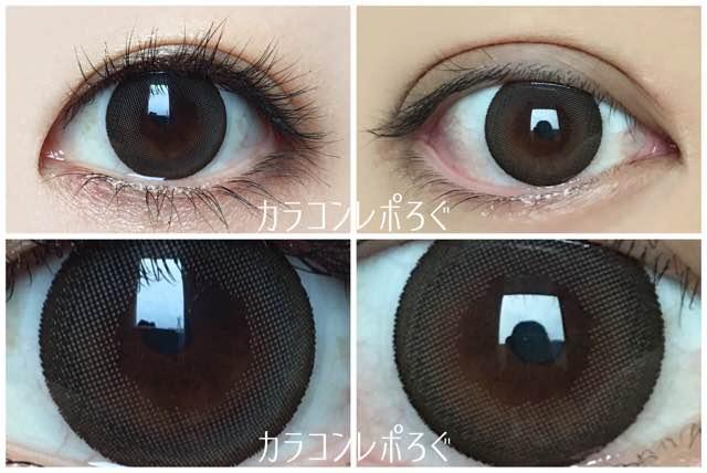 チャーミングオリーブブラウン黒目茶目発色の違い/ナチュラリワンデー