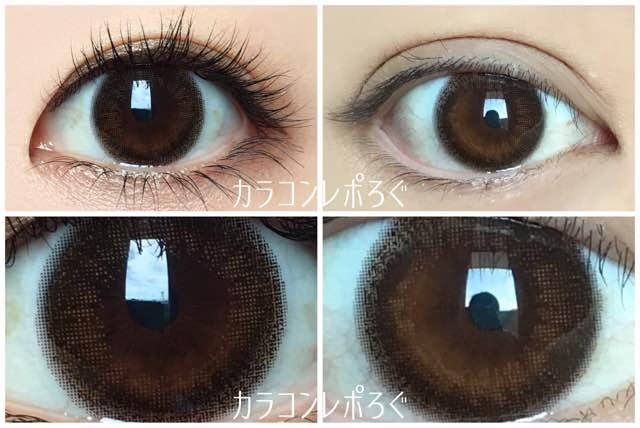 ヌーディーブラウン黒目・茶目発色の違い/ルミアワンデーDIA14.5mm