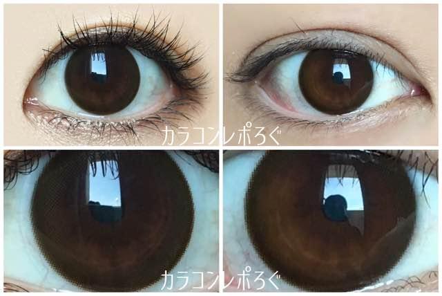 ソアブラウン(POPLENS)アイズソアチョコ(i-lens)黒目と茶目発色の違い比較