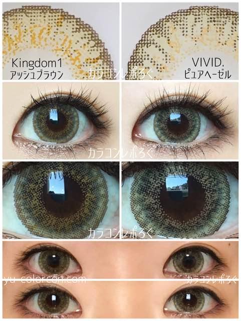 Kingdom1アッシュブラウン&ローズベリーVIVID.ピュアヘーゼル/発色の違い比較