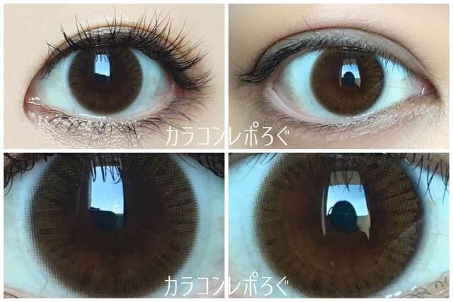 オリビアナチュラル(i-lens)モチーフブラウン(POPLENS)黒目と茶目発色の違い比較