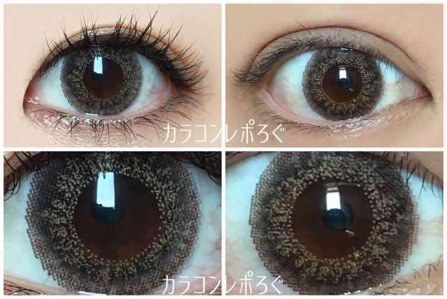 ジーニーガールズ スフレチョコ黒目と茶目発色の違い比較