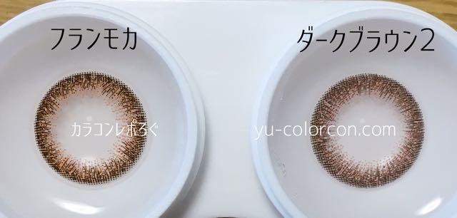 エルージュフランモカ&ヴィヴィアンワンデーダークブラウン2 レンズの違い比較