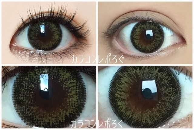 ヴィンテージオリーブ黒目と茶目発色の違い比較/エンジェルカラーワンデーVintage