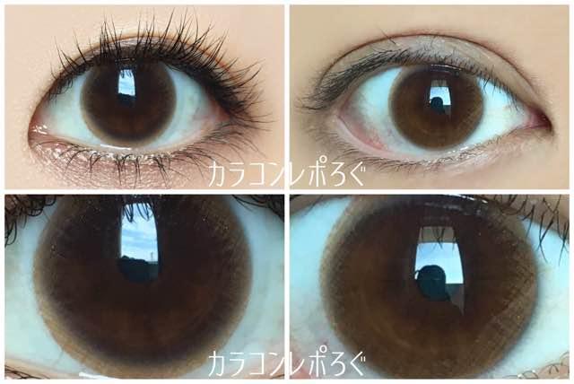 イットガールステラパールブラウン(i-lens/アイレンズ)黒目と茶目発色の違い比較