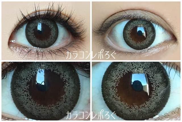カーキ黒目と茶目発色の違い比較/ランデbyティアリーアイズ