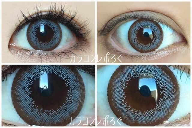 ミント黒目と茶目発色の違い比較/ランデbyティアリーアイズ