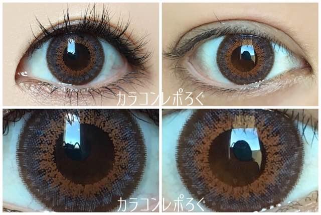 ココア黒目と茶目発色の違い比較/ランデbyティアリーアイズ