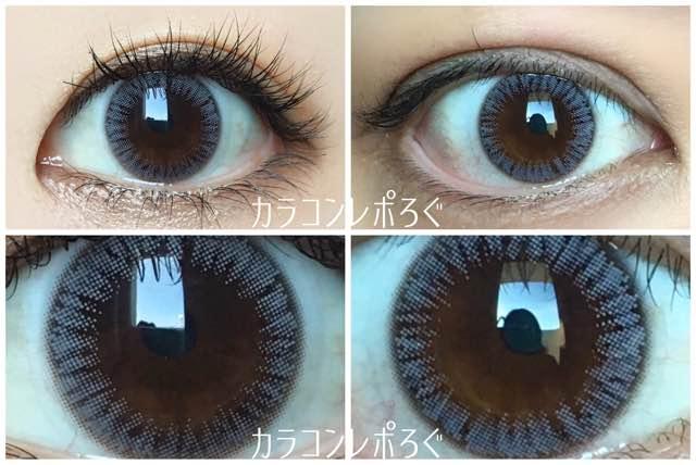 オリビアナチュラル(i-lens)モチーフグレー(POPLENS)黒目と茶目発色の違い比較
