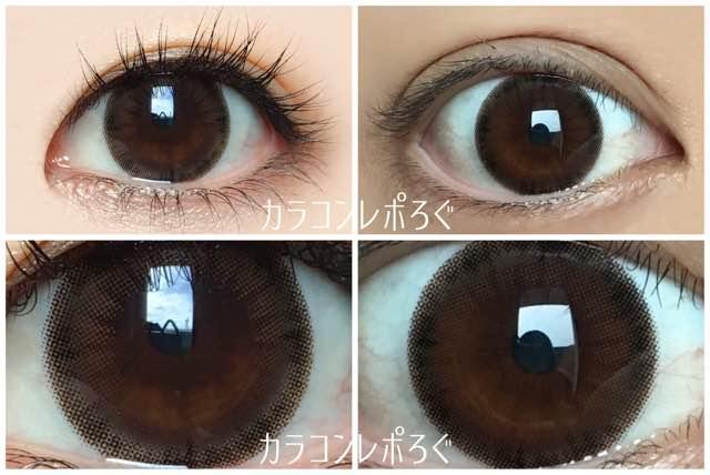ダークモカ黒目と茶目発色の違い比較/シークレットキャンディーマジックプレミア