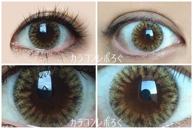 アイドルビーチブラウン(i-lens/アイレンズ)黒目と茶目発色の違い比較