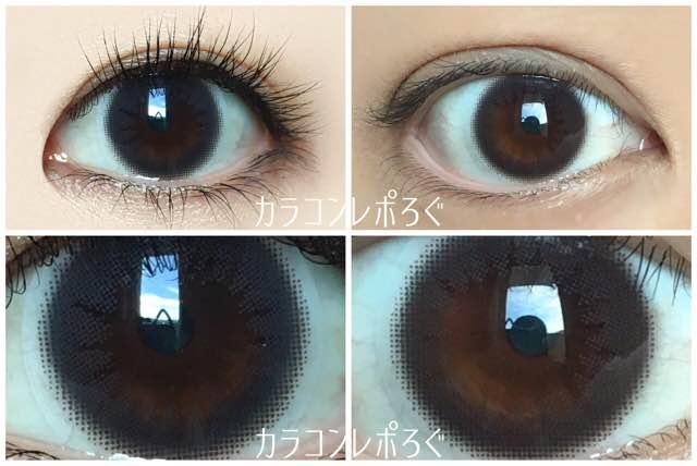 オリエントブラック/ラスターワンデー黒目と茶目発色の違い比較
