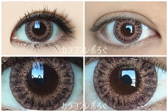 ラスターマンスリーチャームローズ/黒目と茶目発色の違い比較