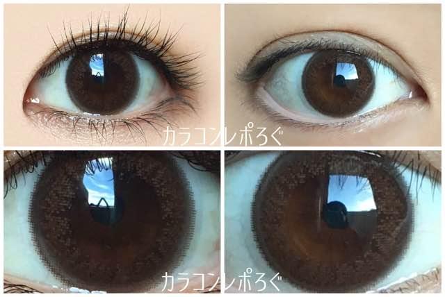 MB-02誘惑アンバー/マジカルブリンクワンデー黒目と茶目発色の違い比較