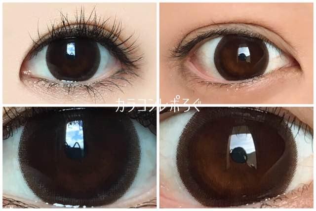 コンタクトフィルムズDIA15.0mmBKHZ-Bヘーゼルサークル/黒目と茶目発色の違い比較