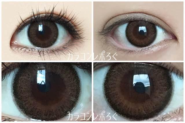 アプリコットブラウン/エバーカラーワンデーナチュラル42.5UV黒目と茶目発色の違い比較