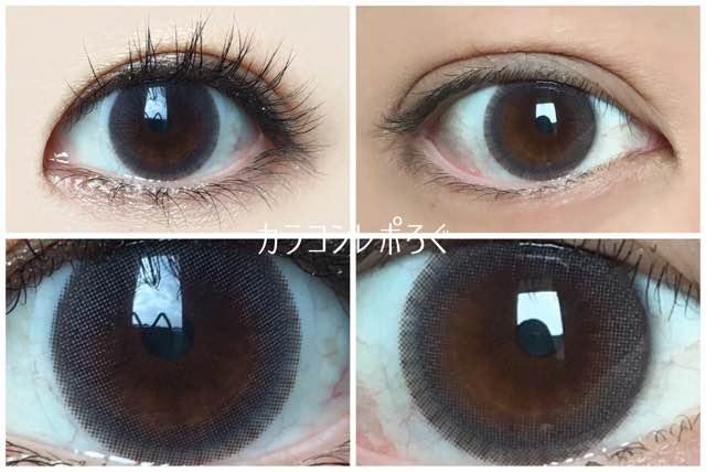 アイドルピュアグレー(i-lens/アイレンズ)黒目と茶目発色の違い比較