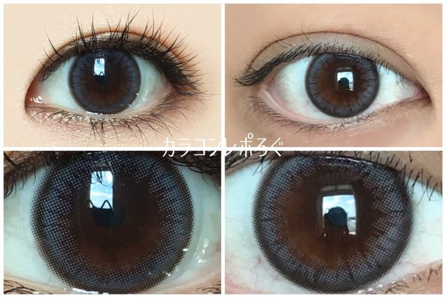 シュガークレープグレー(i-lens/アイレンズ)黒目と茶目発色の違い比較