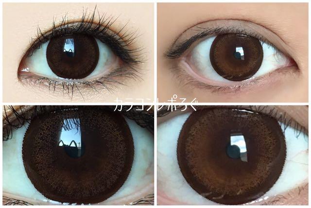 チョコリング/ラブホリックワンデー黒目と茶目発色の違い比較