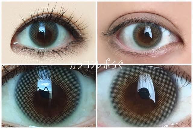 ロイヤルミント(ルーチェ/LUCE)黒目と茶目発色の違い比較