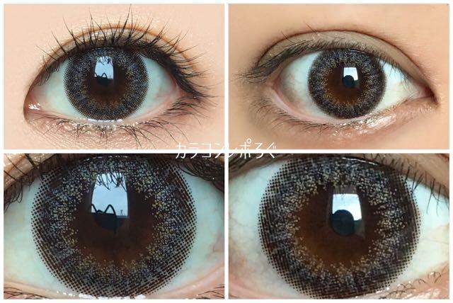 スノーヴェール黒目と茶目発色の違い比較(エバーカラーワンデー42.5UV)