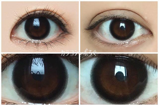 シアーブラック黒目と茶目発色の違い比較(フェリアモ/feliamo)