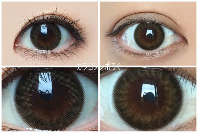 ヴィクトリアワンデー ピュアトレンチ 黒目と茶目発色の違い比較