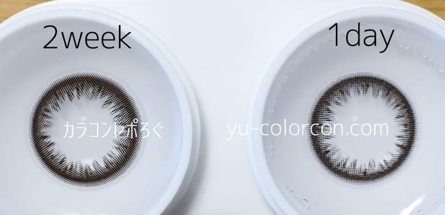 ゼル ナチュラル ダークブラウン 2ウィークとワンデー レンズの違い比較