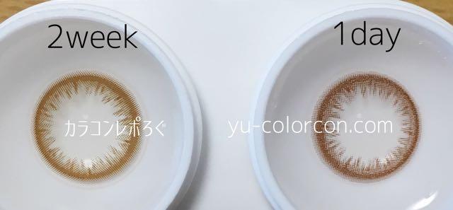 ゼル ナチュラル ライトブラウン 2ウィークとワンデー レンズの違い比較